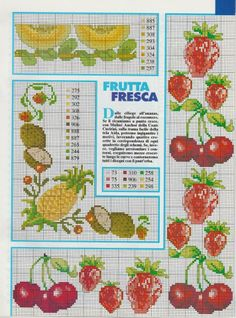 <3 Cross Stitch Fruit, Cross Stitch Kitchen, Mini Cross Stitch, Cross Stitch Charts, Cross Stitch Patterns, Ribbon Embroidery, Needlepoint, Needlework, Diy And Crafts