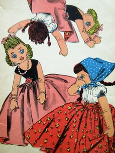 Vintage Advance 8455 Sewing Pattern, Topsy Turvy Doll, 1950s Doll Pattern…