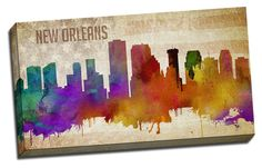 Picture it on Canvas 'New Orleans Watercolor City Skyline ' Graphic Art on Canvas Watercolor City, Watercolor Canvas, Canvas Art Prints, Canvas Wall Art, New Orleans Skyline, Metal Wall Art, Graphic Art, Poster Prints, Pictures