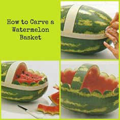 Easy 4 steps to carve a watermelon! Easy 4 steps to carve a watermelon! Fruit Basket Watermelon, Watermelon Fruit, Watermelon Recipes, Watermelon Carving Easy, Fruit Jello, Carved Watermelon, Fruit Presentation, Baby Shower Fruit, Fruit Creations