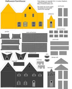 Printable Sheet of Parts for a Haunted Halloween Farmhouse in 1:144 Scale.