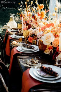Beautiful fall wedding filled with florals. | ElegantWedding.ca Table Setting Inspiration, Wedding Inspiration, Head Tables, Wedding Place Settings, Wedding Receptions, Wedding Centerpieces, Fall Wedding, Florals, Table Decorations