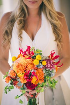 Gorgeous brightly colored wedding bouquet