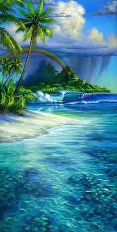 Surf art Tahitian Paradise painting - fine art giclee on canvas by Phil Roberts Beautiful Landscape Wallpaper, Beautiful Landscapes, Nature Paintings, Beautiful Paintings, Scenery Paintings, Mermaid Paintings, Art Surf, Photographie Street Art, Art Plage