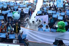 About a thousand of people with a polar bear mascot attended a rally at Hibiya Park in Tokyo on Nov. Environmental Ethics, Energy Resources, Powerful Images, Money Today, Paris Photos, Go Green, Global Warming, People Around The World, Ecology