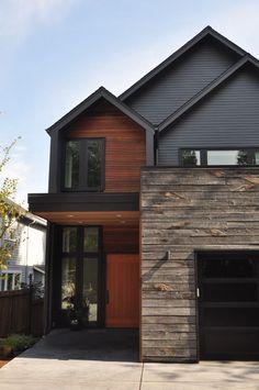 Rustic Wood Siding Exterior Contemporary with Black Garage Door Concrete