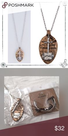 30% off bundles  Give Thanks necklace Beautiful large approx. 30 inch in length adjustable with lobster claw clasp with 3 inch extender✨✨ Lead and Nickel compliant.  Awesome beauty✨✨ Antique gold/Silver.... Heavy and made strong.  See last picture and compare size Viola Faith Jewelry Necklaces