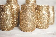 Gold Gitter Mason Jar, Glitter Wedding Decor, Gold Vases, Wedding Centerpieces #Ball