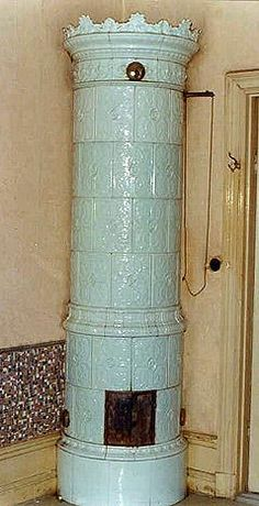 Light blue Swedish tile stove
