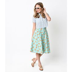 Retro Style Aqua Foxy Button Up Getaway Skirt (80 AUD) ❤ liked on Polyvore…