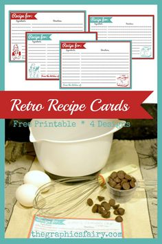 Retro Recipe Card Printables! by Emily for The Graphics Fairy