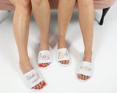 Personalized Slippers for Getting Ready on Wedding Day for Bridal Party - Bride, Groom, Bridesmaid, Groomsman, Maid of Honor, MOB, MOG etc. Bride Slippers, Wedding Slippers, Spa Slippers, Bridesmaid Proposal Gifts, Be My Bridesmaid, Wedding Girl, On Your Wedding Day, Bridesmaid Slippers, Custom Makeup Bags