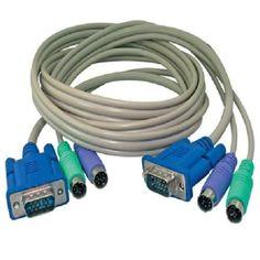 KVM Switch Kabel Satz, 1,8 m, VGA Stecker - Buchse, PS2 Maus & Tastatur, Monitor