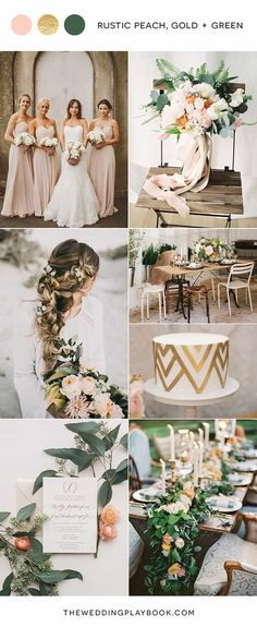 Rustic peach, gold and green wedding mood board wedding colors green, wedding color 2017 Wedding Color Combinations, Wedding Color Schemes, Colour Schemes, Color Trends, Gold Wedding Colors, Wedding Flowers, Wedding Bouquets, Peach Wedding Theme, Wedding Dresses
