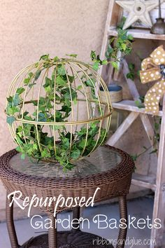 DIY Repurposed Hanging Garden Baskets. Connect two garden baskets to turn in to a unique outdoor decor. All you need is spray paint for this easy prroject