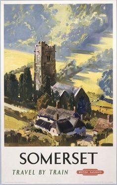 British Railways Travel Art Poster Print, Travel By Train to Somerset
