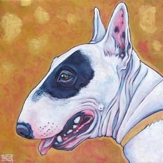 10 x 10 Custom Pet Portrait Original Painting by bethanysalisbury, $130.00 Bull Terrier