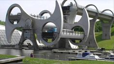 Falkirk Wheel, a rotating boat lift in Scotland connecting the Forth and Clyde Canal with the Union Canal