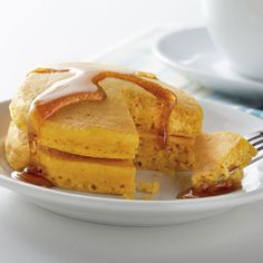 Puffy Pumpkin Pancakes using Libby's canned pumpkin with Light & Fluffy pancake mix from the Dollartree.  Black Syrup for Halloween: 1/2 cup granulated sugar, 1/2   cup packed light brown sugar, 2 tablespoons flour, 2 teaspoons ground cinnamon, 1 teaspoon vanilla,1 cup water, Black food color