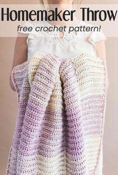 The Homemaker Crochet Throw Stricken , Crochet Home Decor, Crochet Crafts, Easy Crochet, Crochet Baby, Crochet Projects, Free Crochet, Knit Crochet, Blanket Crochet, Crochet Ideas
