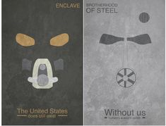 Fallout 3 Enclave and Brotherhood of Steel Fallout Art, Fallout Quotes, Fallout Posters, Fallout Meme, Fallout Concept Art, Fallout New Vegas, Fallout Tips, Video Game Posters, Video Games