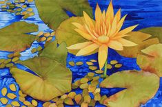 Art Original Watercolor Painting Close-up of  Tropical Hawaiian Pond LILY PADS