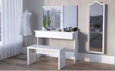 White Large Dressing Table with Mirror and LED Lights - Rare Epoch Dressing Table Mirror, Ikea Lack Shelves, Large Shelves, White Vanity Table, Colored Dining Chairs, Big Wall Mirrors, Storage Spaces, Interior, Home