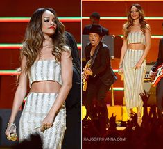 Rihanna oerformed in vintage Luciano Soprani at the 55th Annual Grammy Awards.