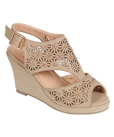 Look what I found on #zulily! Step Up Shoes Taupe Tunas Peep-Toe Wedge Sandal by Step Up Shoes #zulilyfinds