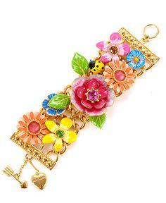 Betsey Johnson Bracelet, Multi Flower Wide Toggle Bracelet