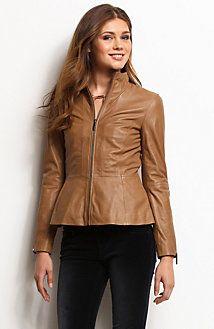 Peplum Leather JacketOnline Exclusive