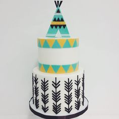 The cutest patterned teepee cake! Love this @elisecakes