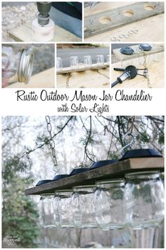 Rustic Outdoor Mason Jar Chandelier with Solar Lights