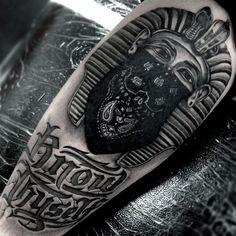 Cool King Tut Wearing Black Bandana Tattoo On Mans Thigh