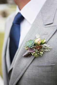 Mini succulent boutonniere: http://www.stylemepretty.com/california-weddings/carmel/2015/05/04/rustic-glamorous-mission-ranch-wedding/ | Photography: Ryon Lockhart - http://www.ryonlockhart.com/