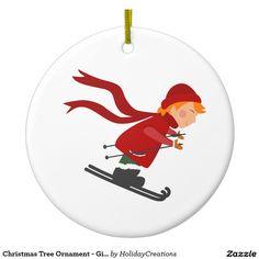 Christmas Tree Ornament - Girl Skiing