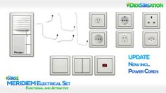 UPDATE : MERIDIEM Electrical - Set This set contains: •  1 Door Bell •  6 International Electric Sockets • 3 Light Switches • 5 Power Cords - Sims 4 CC