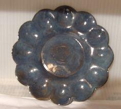 Pottery Egg Plate Stoneware Handmade 9 Blue by PotteryLaceNautical