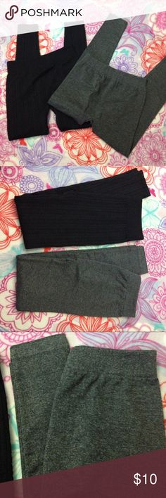 2 Pairs Fleece Leggings NWOT NWOT 2 pairs of fleece leggings. One gray pair. One black ribbed pair. Brand-new with out tags. Perfect condition never worn. Pants Leggings