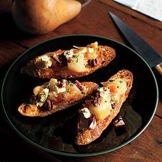 Pear Chutney Bruschetta with Pecans and Blue Cheese | MyRecipes.com