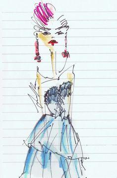 #Oscar de la Renta #lady 2.0 / illustrated live at Spring 2013 Show by Jessica Repetto @jessicarepetto