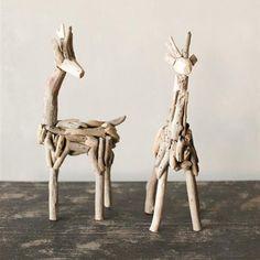 Driftwood Deer Figurine - Set of 2 | dotandbo.com