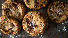 These chocolate chunk cookies are made even more special with colorful sprinkles and a touch of sea salt.