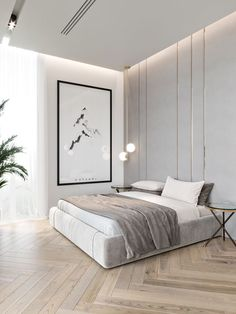 59 best minimalist bedroom design you must see 42 Interior Design Modern Bedroom Design, Contemporary Bedroom, Home Interior Design, Modern Minimalist Bedroom, Modern Wall, Modern Apartment Design, Minimalist Home Interior, Simple Interior, Modern Bedroom Furniture