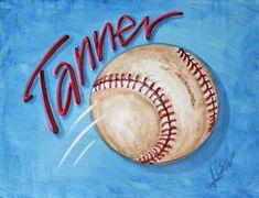Painted Canvas ideas for boys Baseball Canvas, Baseball Painting, Sports Painting, Painting For Kids, Art For Kids, Painting Classes, Hand Painted Canvas, Canvas Wall Art, Canvas Paintings
