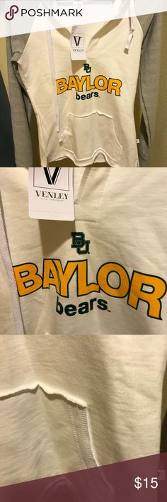 Baylor Bears Ladies Hoodie Baylor Bears  Ladies Hoodie v neck with front pocket bottom has rough hem has slight v opening on hips for great fit sleeves are different colors than body. 100% Cotton New never worn condition with tags attached Venley Tops Sweatshirts & Hoodies