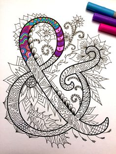 8.5x11 PDF coloring page of the ampersand & - inspired by the font Harrington  Fun for all ages.  Relieve stress, or just relax and have fun using your favorite colored pencils, pens, watercolors, paint, pastels, or crayons.  Print on card-stock paper or other thick paper (recommended).  Original art by Devyn Brewer (DJPenscript).  For personal use only. Please do not reproduce or sell this item.  HOW TO DOWNLOAD YOUR DIGITAL FILES…