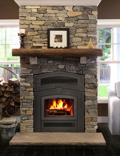 One fireplace with two facing options! The RSF Opel Keystone has low emissions a. , One fireplace with two facing options! The RSF Opel Keystone has low emissions and is a high performance fireplace. This is the full facing option. Fireplace Hearth Stone, Fireplace Tile Surround, Brick Fireplace Makeover, Shiplap Fireplace, Rock Fireplaces, Small Fireplace, Farmhouse Fireplace, Fireplace Design, Cottage Fireplace