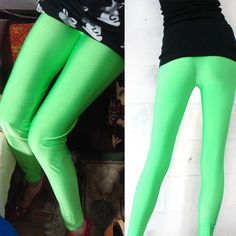 Womens-Solid-Neon-Green-Punk-Metallic-Leggings-Slim-Stretchy-Pants-Trousers-USA