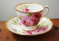 Royal Albert American Beauty Bone China teacup, pink roses, gold trim made in England. by Trashtiques on Etsy https://www.etsy.com/ca/listing/253990030/royal-albert-american-beauty-bone-china